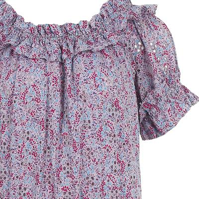 frill detail floral pattern dress